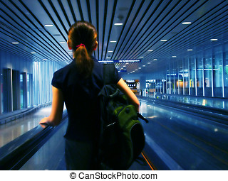 Boarding - Moving effect with blue light background,...