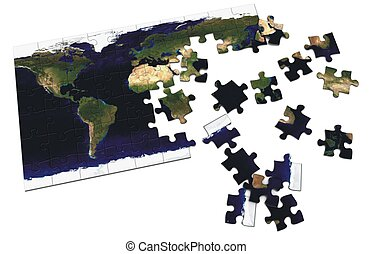 World Puzzle - Unfinished world puzzle