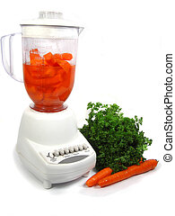 blender - isolated blender making carrot juice