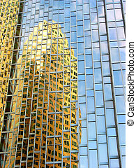 Downtown reflections 9 - Reflections of yellow buildings and...
