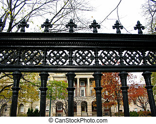 Wrought iron fence in downtown Toronto
