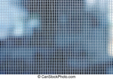 White mesh blur - Sharp white rectangular mesh with blue...