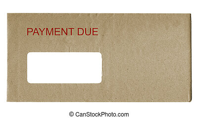 Payment Due - envelope with payment due in red letters
