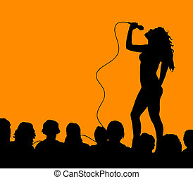Female singer - Silhouette of a female singer