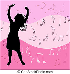 Love the music - Female dancing on music background