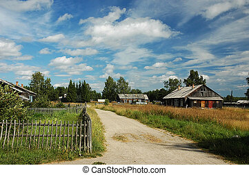 Old russian village in summer day