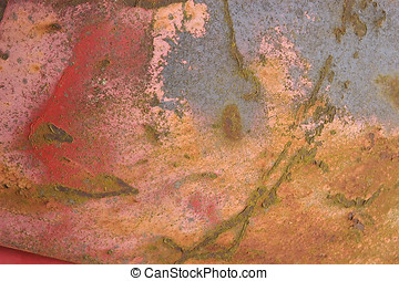 rusty painted metal - closeup of weathered old metal