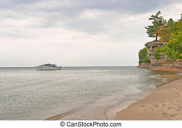 Great Lakes - Cruise Boat on Lake Superior near Chapel Rock