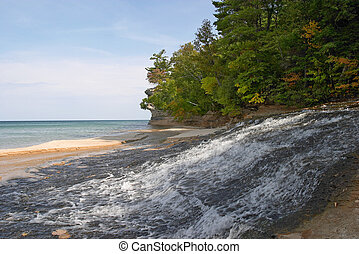 Lake Superior - River flowing into Lake Superior in...