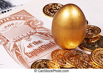Savings - Gold Egg With Stock Certificate and Coins