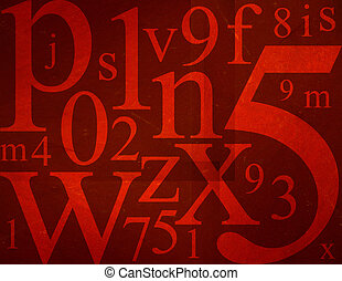 Letters and Numbers Mix - Random letters and numbers on red...