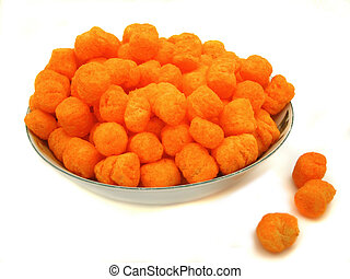 cheese balls - bowl full of cheese puffs
