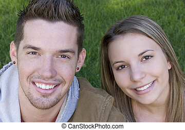 sonriente, pareja