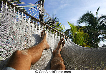 Hammock Relax - Legs and hammock in tropical surroundings