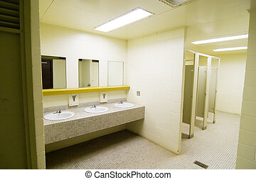 Public Washroom - Sinks and mirrors in a public bathroom
