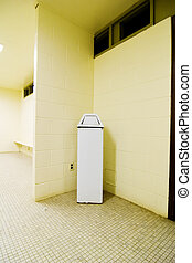 Garbage Can - Garbage can in a public washroom.