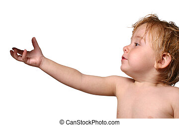 toddler reaching for object - toddler holding out his hand...