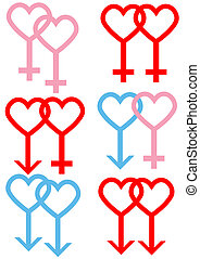 heartsymbols - Male and female symbols created with love...