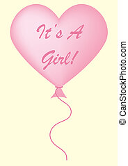 Its A Girl Balloon - Baby pink Its a girl balloon on a...
