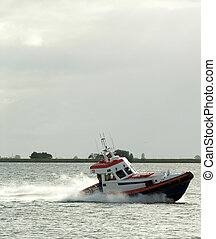 lifeboat in open water