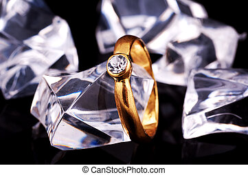 Diamond Ring on Glass Chips