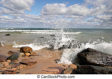Lake Superior - Wave Crashing into Rocky Shore on Lake...
