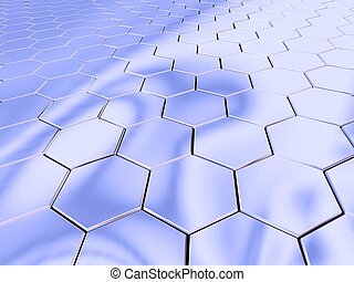 Chrome hexagon space - Hexagonal chromic surface.