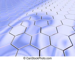 cromo, hexágono, espacio
