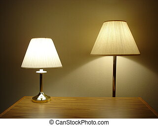 Two Lamps - Desktop and Floor Lamps with Wooden Table