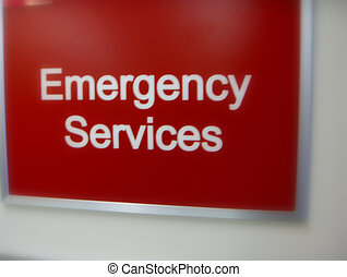 Emergency Services Sign - Motion Blurred Emergency Sign Soft...