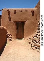 Adobe Doorway - Detail of massive doorway in centuries old...