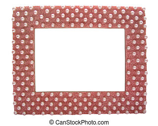 handmade frame decorated with pearls