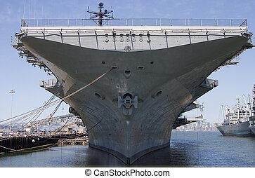 Aircraft Carrier - The bow of the aircraft carrier intrepid,...