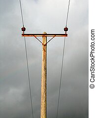 Telephone Pole Wires - Telephone and wires centred against a...