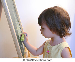 Learning to Draw - Toddler drawing on a chalkboard easel