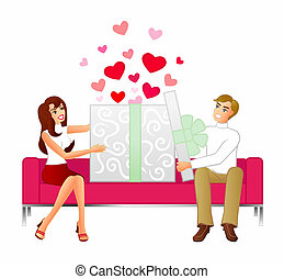 Gift of Love - An illustration of a couple sitting on a...