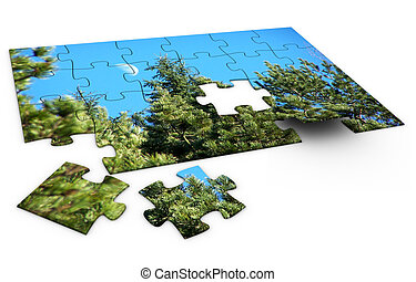 Puzzle Nature - 3d rendered image of a jigsaw-puzzle of...