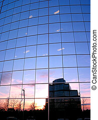 Corporate building - Reflection of a sunset in the mirror...