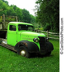 Vintage green truck. - Vintage green truck with black...