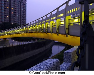 Bridge by Night Over a Canal - -- this is a curved...