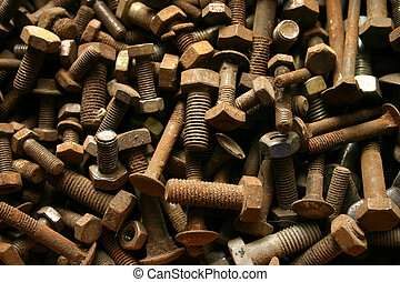 Screws - rusty screws with nuts