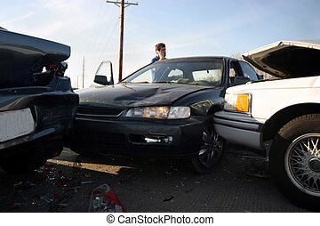 bad day car accident - a three car accident on the...