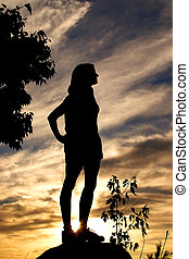 twilight - silhouette of a woman against a sunset sky