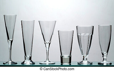 six glasses - 1 - six long drinks glasses - 1