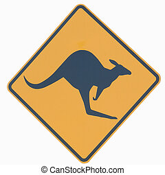 Kangaroo Sign - Closeup of Australian Kangaroo road sign -...