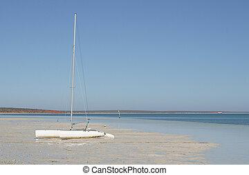 Lonley boat - A lonley boat on an empty beach