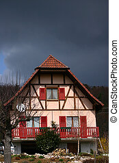 alsacian village - house in the street of a alsacian...