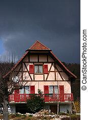 alsacian village - house in the street of a alsacian...