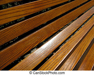 Wood Grain Bench - Wooden bench showing wood grain.