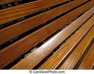 Wood Grain Bench - Wooden bench showing wood grain.